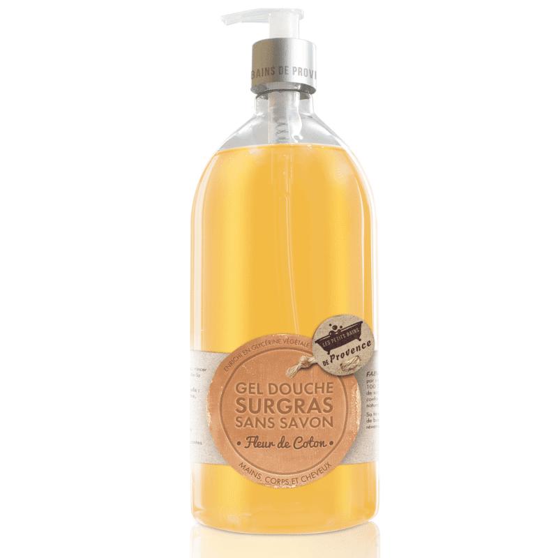 Les Petits Bains de Provence Gel Douche Surgras sans savon Fleur de Coton 1L