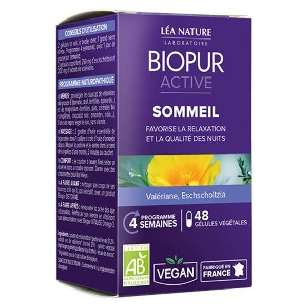 Biopur Active Sommeil Valériane Eschscholtzia 48 gélules végétales