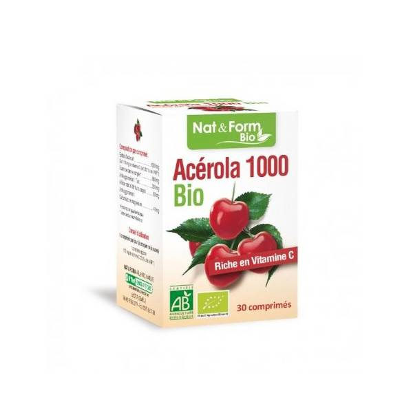 Nat & Form Acérola 1000 Bio 30 comprimés