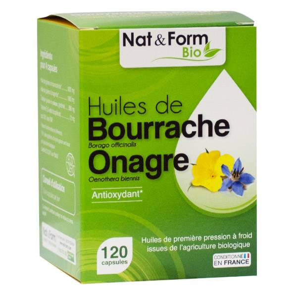 Nat & Form Bio Bourrache Onagre + Vitamine E 120 capsules