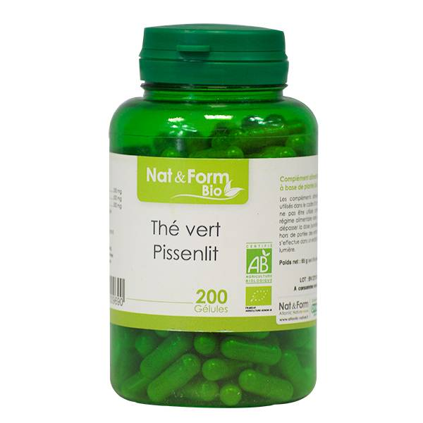 Nat & Form Bio Thé Vert - Pissenlit 200 gélules végétales