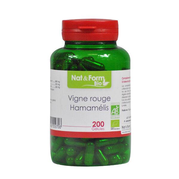 Nat & Form Bio Vigne Rouge - Hamamélis 200 gélules végétales