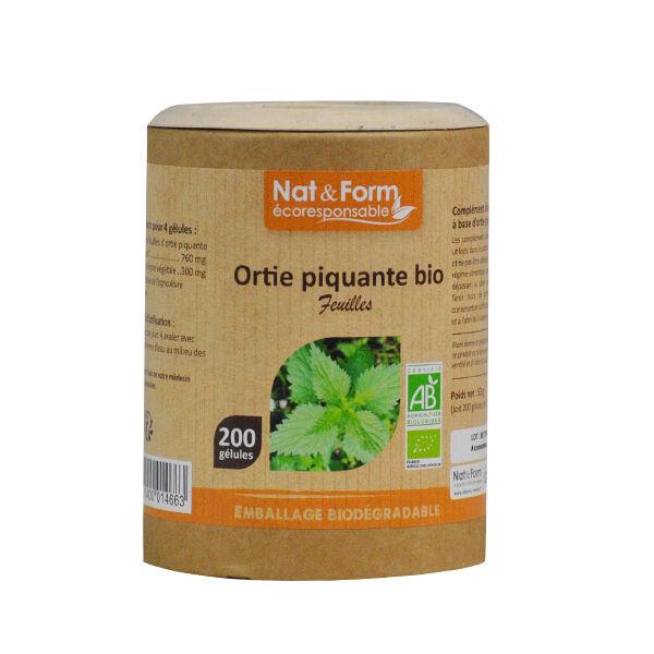 Nat & Form Eco Responsable Ortie Piquante Feuille Bio 200 gélules végétales