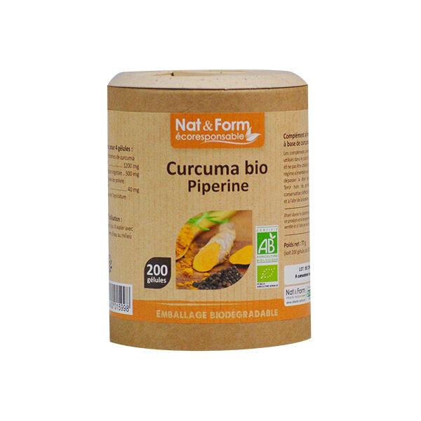 Nat & Form Eco Responsable Curcuma + Pipérine Bio 200 gélules