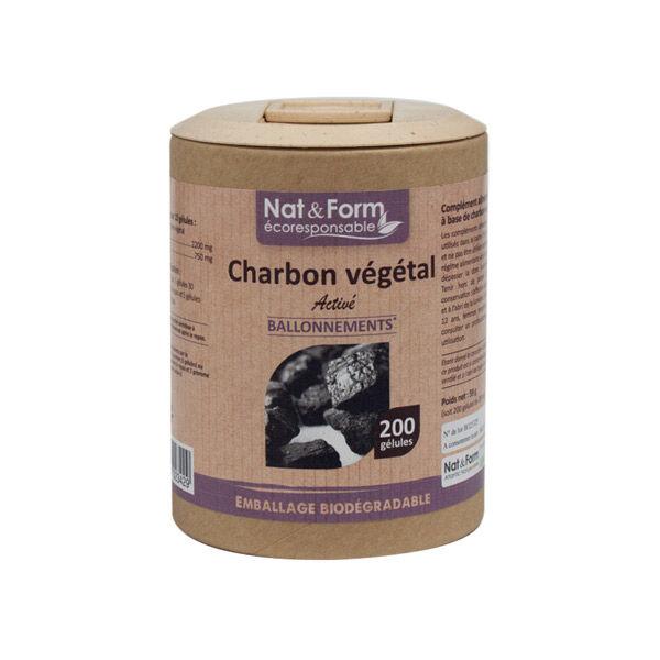 Nat & Form Eco Responsable Charbon Végétal 200 gélules