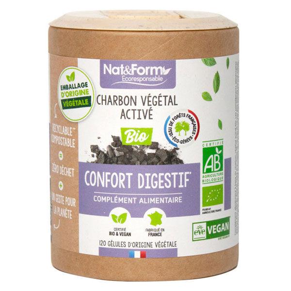 Nat & Form Eco Responsable Charbon Végétal Bio 120 gélules