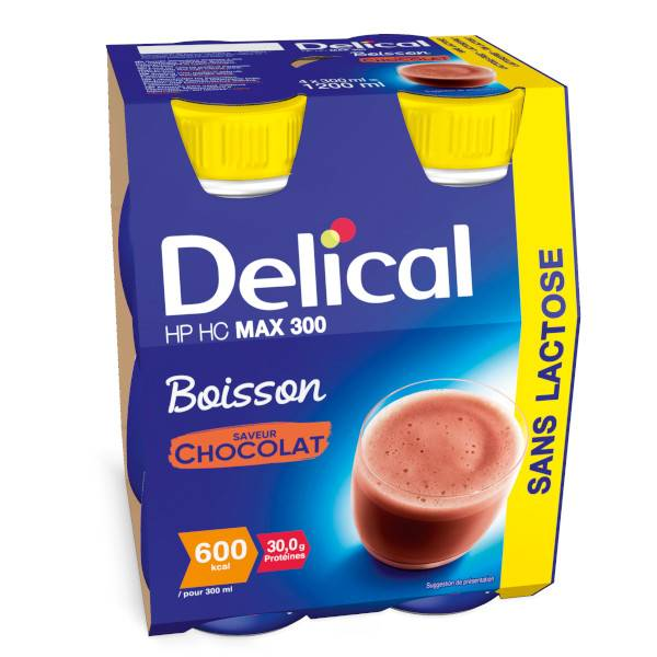 Delical Boisson HP HC Max 300 sans Lactose Chocolat 4 x 300ml
