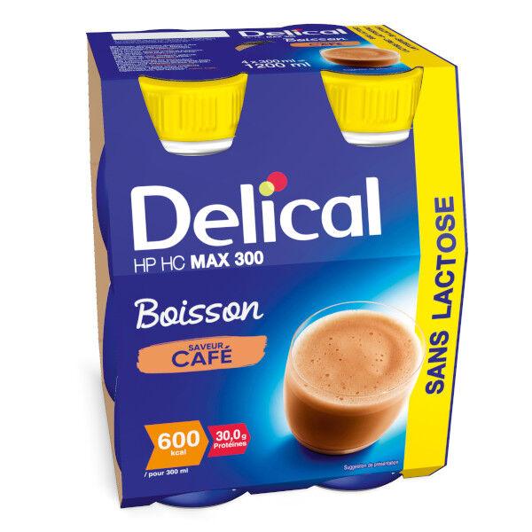 Delical Boisson HP HC Max 300 sans Lactose Café Lot de 4 x 300ml
