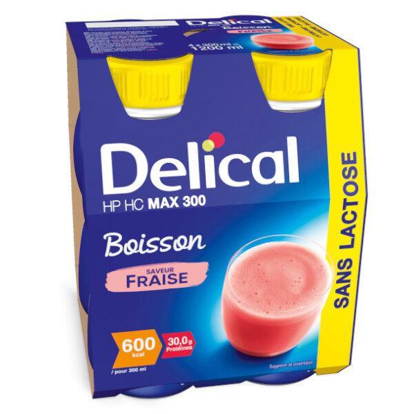 Delical Boisson HP HC Max 300 sans Lactose Fraise 4 x 300ml