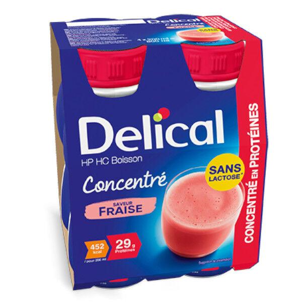 Delical Boisson HP HC Concentré en Protéines sans Lactose Fraise 4 x 200ml