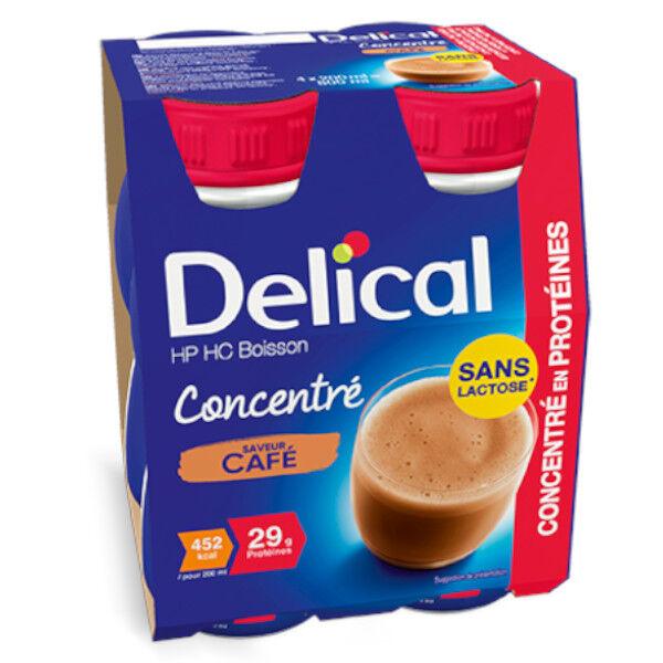 Delical Boisson HP HC Concentré en Protéines sans Lactose Café Lot de 4 x 200ml