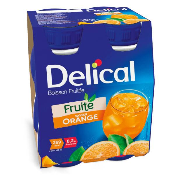 Delical Boisson Fruitée Orange 4 x 200ml