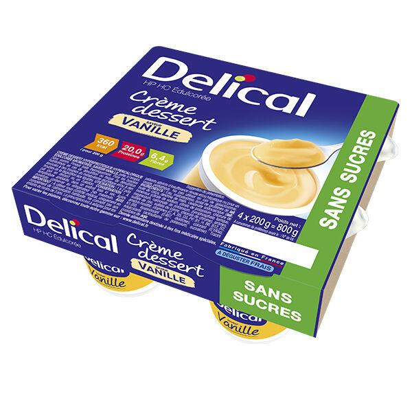 Delical Crème Dessert HP HC Édulcorée Sans Sucres Vanille 4 x 200g