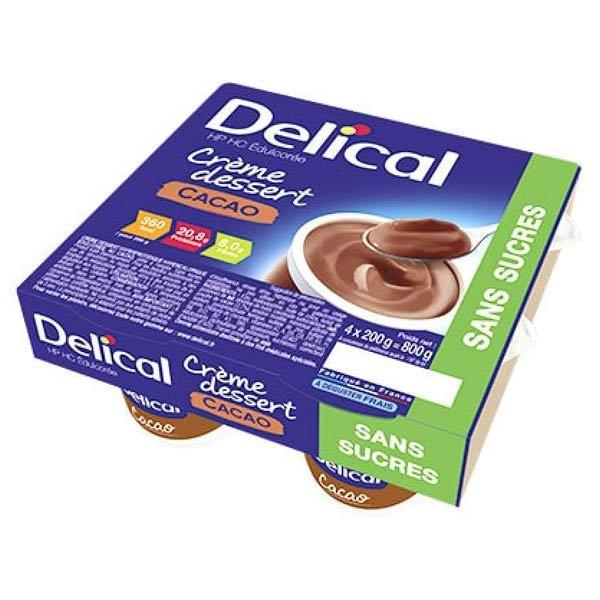 Delical Crème Dessert HP HC Édulcorée sans Sucres Cacao 4 x 200g