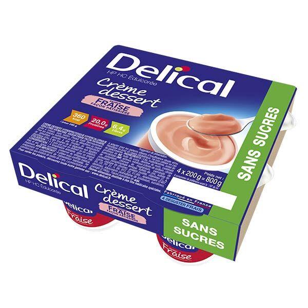 Delical Crème Dessert HP HC Édulcorée Sans Sucres Fraise 4 x 200g