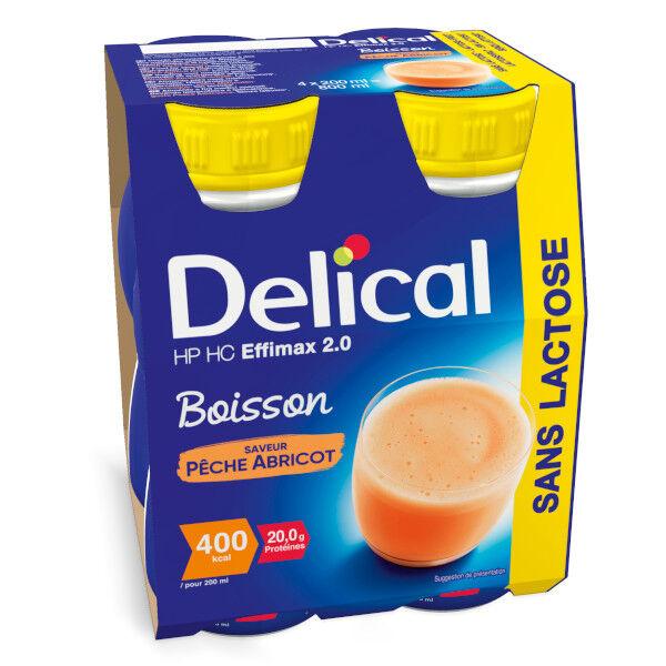 Delical Boisson HP HC Effimax 2.0 sans Lactose Pêche Abricot Lot de 4 x 200ml