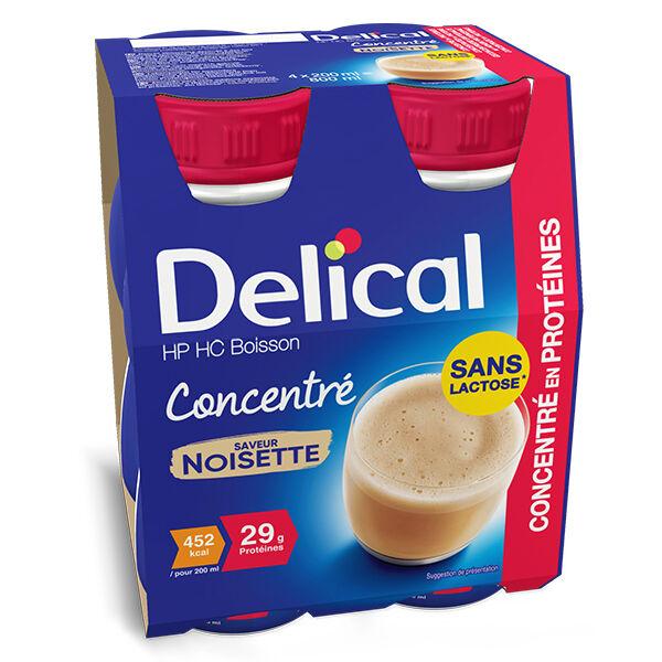 Delical Boisson HP HC Concentré en Protéines sans Lactose Noisette Lot de 4 x 200ml