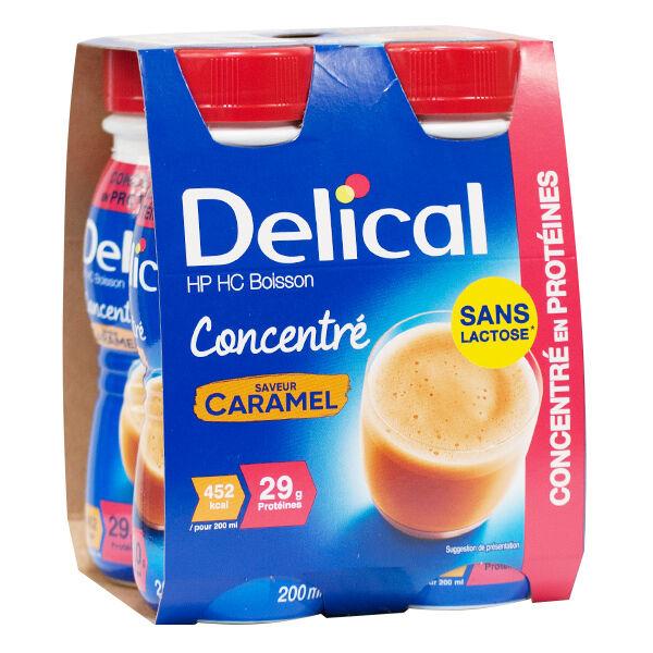 Delical Boisson HP HC Concentré en Protéines sans Lactose Caramel Lot de 4 x 200ml