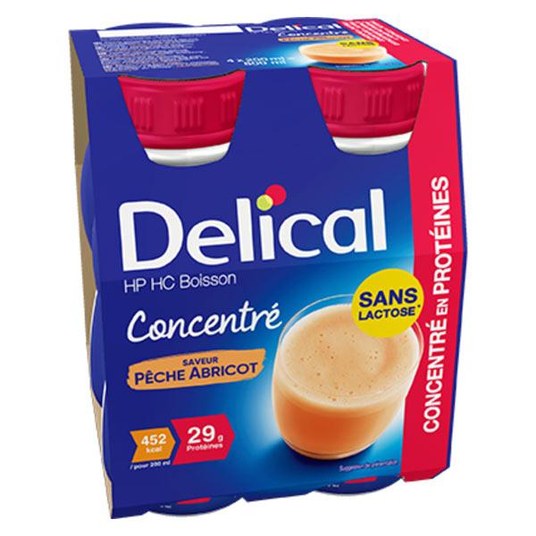 Delical Boisson HP HC Concentré en Protéines sans Lactose Pêche Abricot Lot de 4 x 200ml