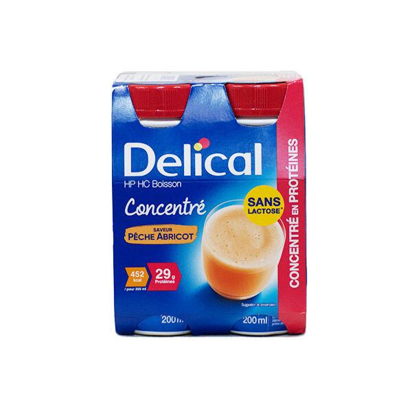 Delical Boisson HP HC Concentré en Protéines sans Lactose Pêche Abricot 4 x 200ml