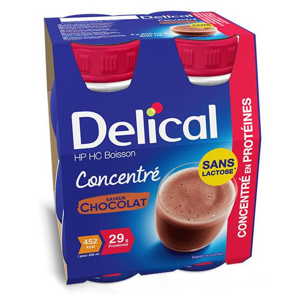 Delical Boisson HP HC Concentré en Protéines sans Lactose Chocolat Lot de 4 x 200ml