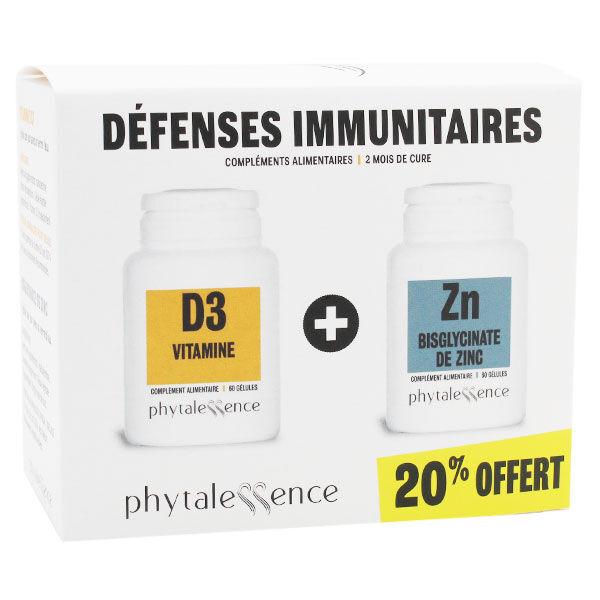 Phytalessence Défenses Immunitaires Vitamine D3 60 gélules + Zinc 60 gélules