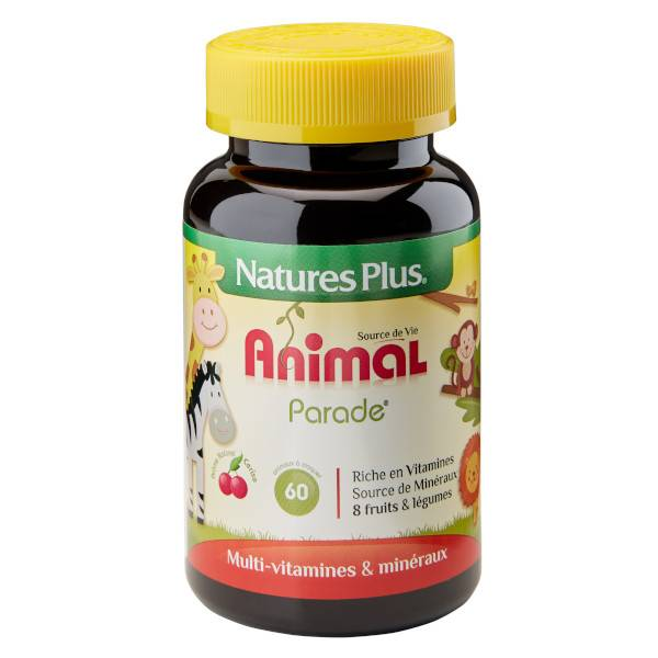 Nature's Plus Animal Parade Multi-Vitamines Enfant Cerise 60 animaux à croquer