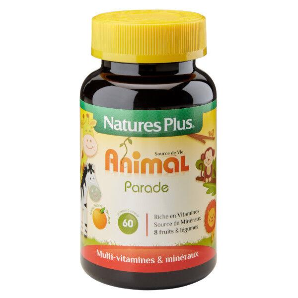 Nature's Plus Animal Parade Multi-Vitamines Enfant Orange 60 animaux à croquer