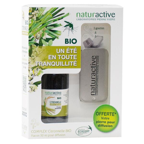 Naturactive Complex' Huiles Essentielles Citronnelle Bio 30ml + Pierre de Diffusion Offerte
