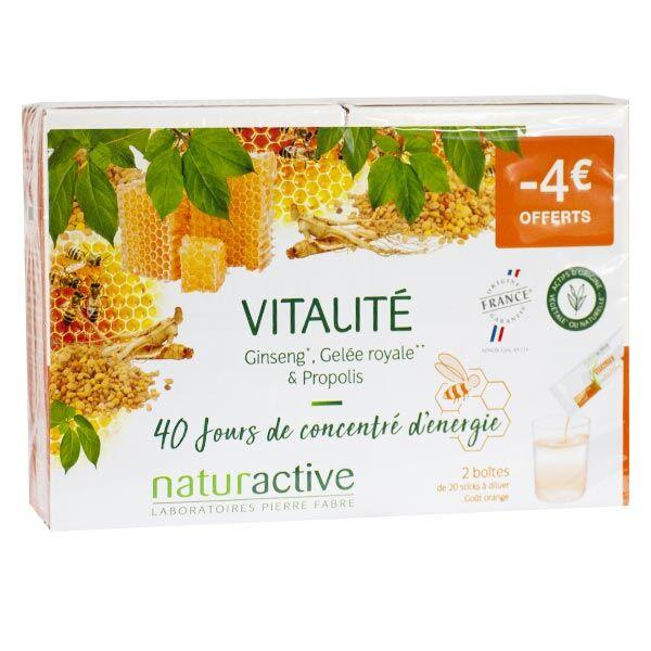 Naturactive Vitalité Ginseng Gelée Royale & Propolis Goût Orange Lot de 2 x 20 sticks