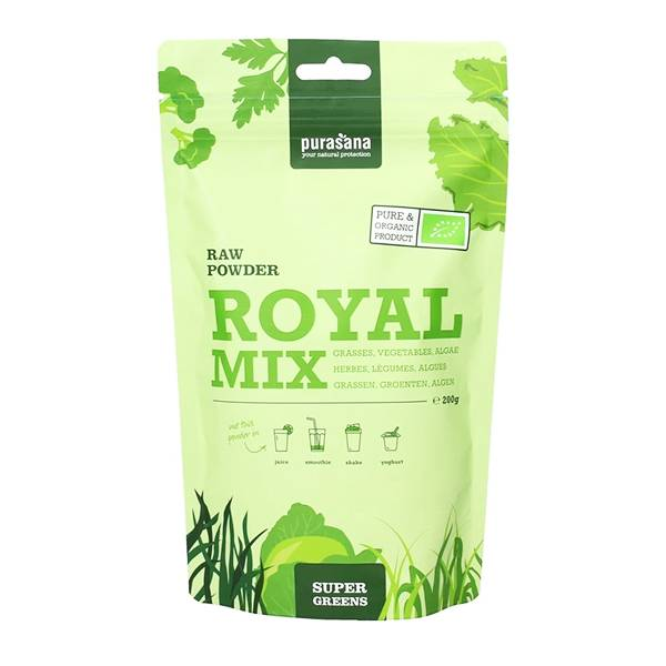 Purasana Royal Mix Herbes Légumes Verts et Algues Poudre Bio 200g