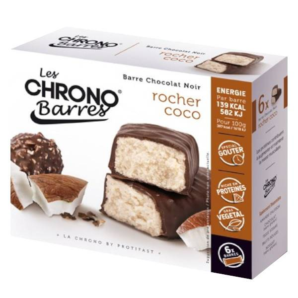 Protifast Chrono Barres Chocolat Noir Rocher Coco 6 barres