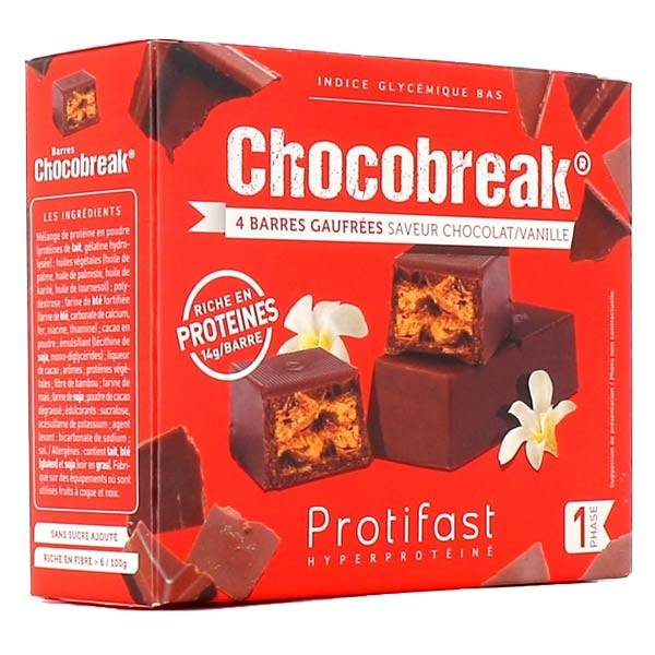 Protifast Chocobreak Chocolat Noir Vanille 4 barres gauffrées