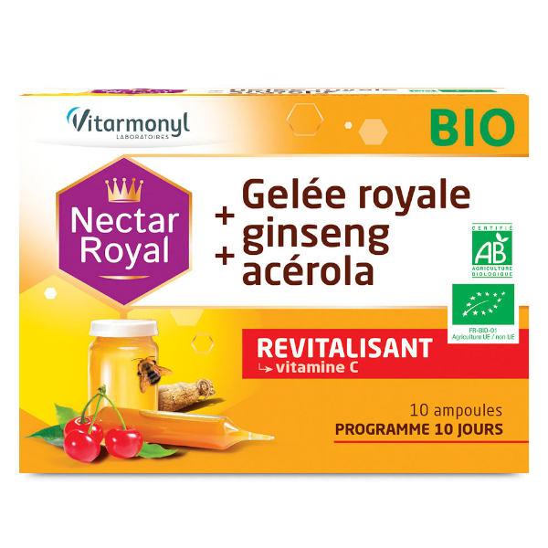 Vitarmonyl Nectar Royale Gelée Royale + Ginseng + Acérola Bio 10 ampoules