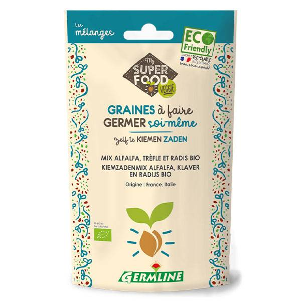 Germ'Line Germline Graines à Germer Alfalfa Trèfle Radis Bio 150g