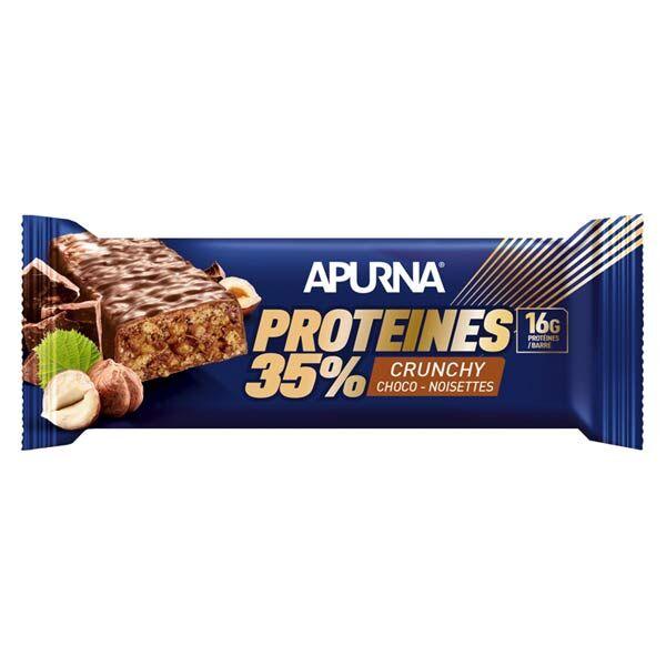 Apurna Barre Hyperprotéinée Crunchy Chocolat Noisette 45g