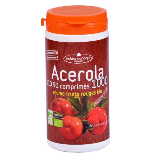 Naturo Concept Acérola 1000 Arôme Fruits Rouges Bio 90 comprimés