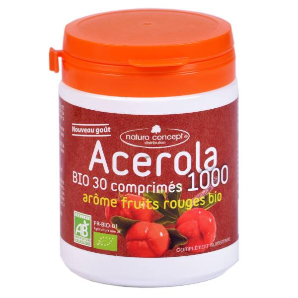 Naturo Concept Acérola 1000 Arôme Fruits Rouges Bio 30 comprimés