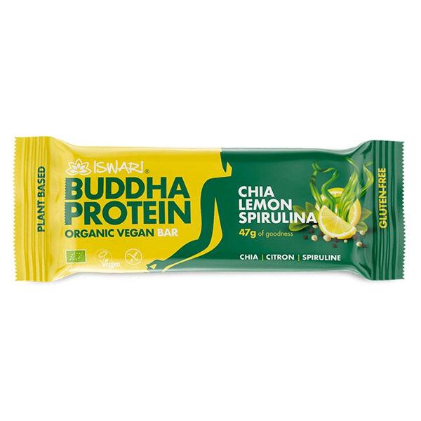 Iswari Barre Bouddha Protéine Chia Citron et Spiruline Bio 47g