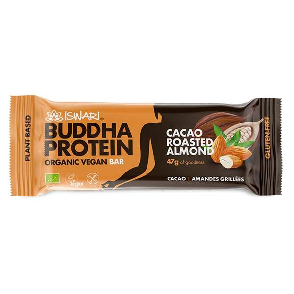 Iswari Barre Bouddha Protéine Cacao et Fruits à Coques Bio 47g