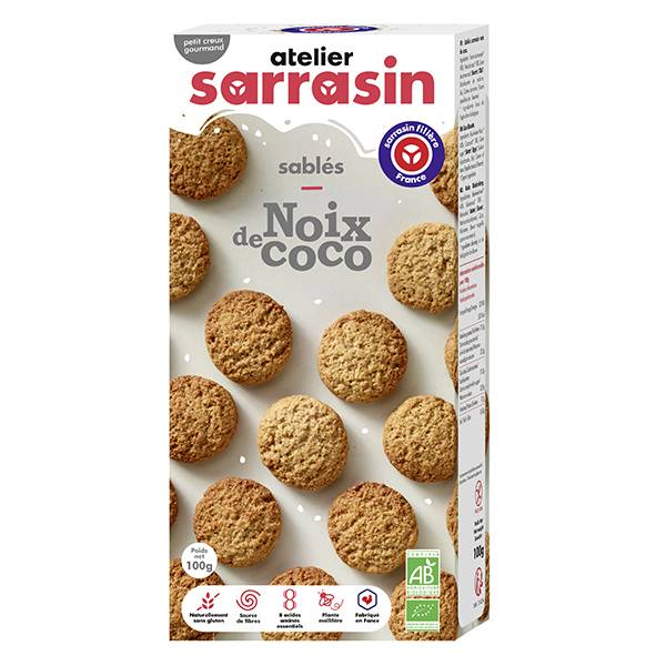 Atelier Sarrasin Sablés Noix de Coco Bio Sans Gluten 100g