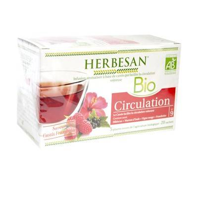 Herbesan Bio Infusion Circulation Saveur Cassis Framboise n°9 - 20 sachets
