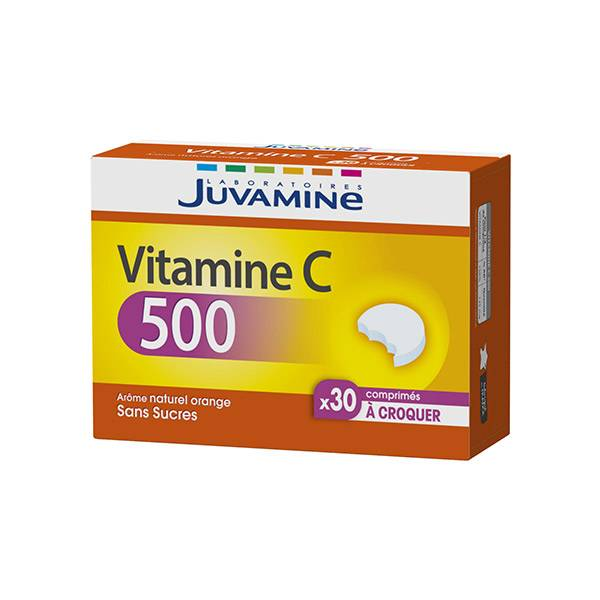 Juvamine Vitamine C 500 Sans Sucres 30 comprimés à croquer
