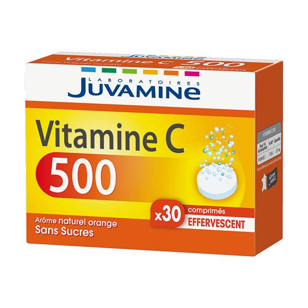 Juvamine Vitamine C 500 Orange Sans Sucres Effervescents 30 comprimés
