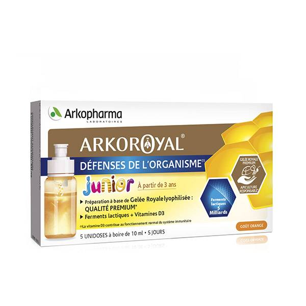 Arkopharma Arkoroyal Défenses de l'Organisme Junior Goût Orange 5 Unidoses