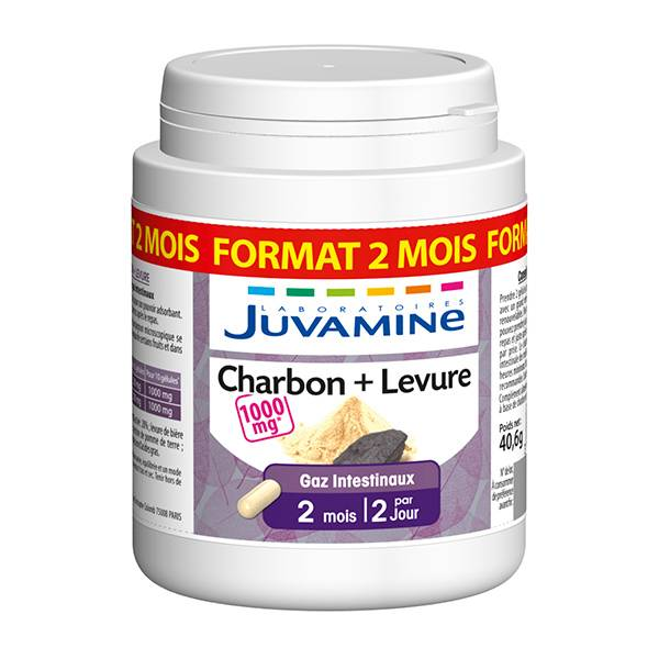 Juvamine Charbon Levure 120 gélules