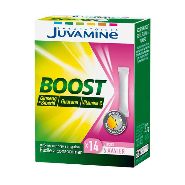 Juvamine Vitamine C + Ginseng de Sibérie & Guarana Boîte de 14 sticks