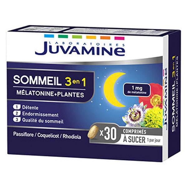 Juvamine Sommeil 3 en 1 Mélatonine + Plantes 30 comprimés à sucer