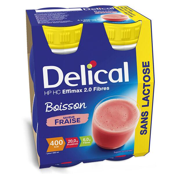 Delical Boisson HP HC Effimax 2.0 Fibres sans Lactose Fraise Lot de 4 x 200ml