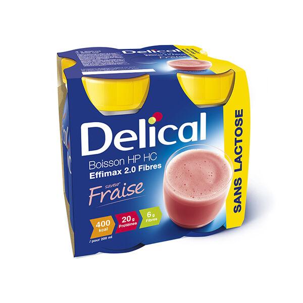 Delical Boisson HP HC Effimax 2.0 Fibres sans Lactose Fraise 4 x 200ml